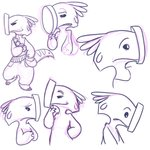 1:1 2019 4_fingers absurd_res alien bag bottomwear clothed clothing digital_drawing_(artwork) digital_media_(artwork) disney experiment_(lilo_and_stitch) eyebrows fingers frown hammerface hi_res lilo_and_stitch looking_down male markings monochrome multiple_poses pants pose raised_inner_eyebrows semi-anthro simple_background sketch smile smirk solo starryblast9 tail_markings white_background