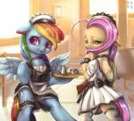 blush cutie_mark duo equine female fluttershy_(mlp) friendship_is_magic garter hair hi_res horse maid_uniform mammal mrs1989 my_little_pony pegasus pink_hair pony rainbow_dash_(mlp) wings   Rating: Safe  Score: 20  User: JGG3  Date: May 13, 2015