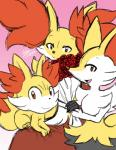 2018 ambiguous_gender braixen canine delphox fennekin flower fur group inner_ear_fluff looking_at_viewer mammal nintendo open_mouth plant pokémon pokémon_(species) smile video_games winick-lim