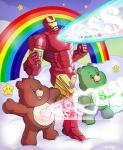<3 ambiguous_gender anthro bear care_bears good_luck_bear group iron_man laser machine male mammal marco_d'alfonso marvel pose power_armor rainbow rainbow_arch star star_buddy tenderheart_bear tummy_symbol