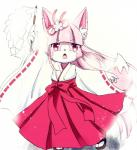"""2015 canine cheek_tuft clothed clothing cute female fox fur hair inner_ear_fluff japanese_clothing kemono long_hair mammal open_mouth pink_eyes pink_fur pink_hair plain_background solo tuft white_background young けもりぼん@日曜日東エ-10a  Rating: Safe Score: 0 User: KemonoLover96 Date: July 07, 2015"""""""