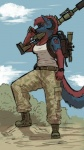 alxias black_nose blue_fur canine demon female fur gun hair horn mammal ranged_weapon red_fur red_hair rifle sligarthetiger sniper soldier solo weapon wolf   Rating: Safe  Score: 5  User: xXK1T5UN3Xx  Date: January 11, 2014