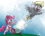 2012 blonde_hair blue_eyes cannon cutie_mark derp_eyes derpy_hooves_(mlp) duo earth_pony equine feathered_wings feathers female feral flying friendship_is_magic fur grass grey_feathers hair horse john_joseco mammal my_little_pony outside party_cannon pegasus pink_fur pink_hair pinkie_pie_(mlp) pony ranged_weapon semi-anthro sky weapon wings yellow_eyes