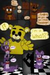 00kaori00 animatronic bear bonnie_(fnaf) bow_tie comic five_nights_at_freddy's freddy_(fnaf) golden_freddy_(fnaf) hat lagomorph machine male mammal mechanical rabbit robot top_hat   Rating: Safe  Score: 1  User: Vallizo  Date: March 31, 2015