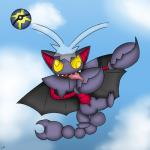 2016 absurd_res claws cloud dab day derp_eyes english_text feral gamemaniac gliscor hi_res humor membranous_wings nintendo nude outside pokéball pokémon purple_skin quick_ball red_skin signature sky smile solo teeth text tongue tongue_out video_games wings