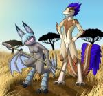 2017 anthro armpits balls bat bat_wings blue_hair blue_nipples breasts claws clothed clothing dreamkeepers duo empty_eyes feathers female grass hair humanoid_penis karo_(dreamkeepers) lord-kiyo male mammal melee_weapon membranous_wings navel nipples nude outside penis polearm pussy red_eyes scalie spear teeth topless tree vanth weapon wings yellow_sclera