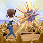ambiguous_gender baguette bread brown_hair female food group hair human mammal nintendo pokémon pokémon_trainer starmie staryu unknown_artist video_games