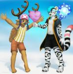 2015 anthro antlers blush cervine clothed clothing cotton_candy cute duo feline food fur hair horn jamesfoxbr lineless male mammal one_piece open_mouth paint reindeer simple_background smile staff standing tiger tony_tony_chopper  Rating: Safe Score: 4 User: jamesfoxbr Date: November 18, 2015