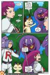arbok bestiality big_breasts breasts clothed clothing comic cum dialogue english_text erection female feral hair human interspecies james_(team_rocket) jessie_(team_rocket) male male/female mammal meowth meowth_(team_rocket) nintendo open_mouth pokémon poképhilia rainbow-flyer red_hair reptile saliva scalie sex snake tears text tongue video_games weezing