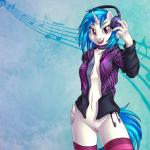 2016 anthro anthrofied blue_hair bottomless breasts brian_mcpherson choker cleavage clothed clothing cropped cutie_mark dj equine female friendship_is_magic hair hand_on_hip headphones hoodie horn legwear looking_at_viewer mammal multicolored_hair musical_note my_little_pony navel open_hoodie open_jacket open_mouth open_smile purple_eyes pussy simple_background smile socks solo striped_legwear stripes thigh_highs two_tone_hair unicorn vinyl_scratch_(mlp)