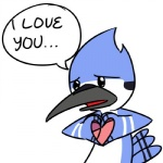 <3 anthro avian beak bird blue_jay cartoon_network corvid cute english_text feathers furrygami i_love_you low_res male mordecai_(regular_show) regular_show simple_background solo tail_feathers text white_background