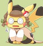 blush brown_hair clothing cosplay cosplay_pikachu crepix eyewear glasses hair hat kemono nintendo open_mouth pikachu pikachu_ph._d pokémon solo twintails_(disambiguation) video_games   Rating: Safe  Score: 5  User: KemonoLover96  Date: May 18, 2015