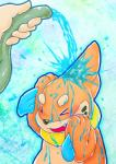abstract_background ambiguous_gender buizel disembodied_hand duo eyes_closed fur hose human mammal mustelid nintendo open_mouth orange_fur pokémon rasuku@07_(artist) simple_background teeth video_games water  Rating: Safe Score: 12 User: DeltaFlame Date: December 09, 2014