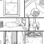 1:1 2015 ambiguous_gender ambiguous_species bed clothed clothing comic digital_drawing_(artwork) digital_media_(artwork) furniture greyscale inside monochrome not_furry slypon solo torso_shot