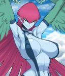 "avian big_breasts blue_skin breasts female green_eyes hair harpie_lady harpy huge_breasts looking_at_viewer pointy_ears red_hair solo space_jin wings yu-gi-oh  Rating: Questionable Score: 23 User: Juni221 Date: June 27, 2015"""