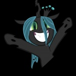 2012 absurd_res alpha_channel changeling cheer crown female friendship_is_magic green_eyes green_hair hair hi_res horn my_little_pony parttimebrony queen_chrysalis_(mlp) simple_background smile solo transparent_background