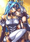 akihidekawa blue_hair breasts female hair humanoid kos-mos kos-mos_(archetype) low_res machine not_furry red_eyes robot selfcest square_crossover xenosaga