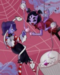 2015 anthro arachnid arthropod beverage black_eyes black_hair blue_hair blue_skin bone crossover cupcake dragon eyes_closed fangs food group hair hair_bow hair_over_eye hair_ribbon leviathan_(skullgirls) muffet multi_limb multiple_arms multiple_eyes open_mouth parangsoda purple_skin red_eyes ribbons skullgirls smile spider spider_web squigly stitches tea tea_cup tea_pot tongue tongue_out undead undertale video_games yellow_eyes zombie  Rating: Safe Score: 10 User: ROTHY Date: December 16, 2015