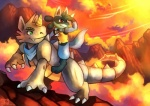 digital_media_(artwork) duo eyewear feral goggles green_eyes haychel lucario male nintendo pokémon red_eyes rhydon sunset video_games   Rating: Safe  Score: 14  User: slyroon  Date: October 13, 2013