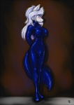 2014 anthro black_nose blue_eyes blush bodysuit breasts canine female fox fur hair long_hair looking_at_viewer mammal rubber s-nina skinsuit solo standing suit tight_clothing white_fur white_hair   Rating: Safe  Score: 6  User: Finchmaster  Date: February 14, 2014