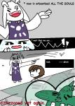 ! <3 asriel_dreemurr black_sclera brown_hair caprine comic dialogue english_text eyes_closed goat group hair human humor jerry_(undertale) male mammal monster open_mouth protagonist_(undertale) spoilers sweat text undertale video_games yaranaika  Rating: Safe Score: 6 User: ROTHY Date: October 10, 2015
