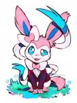 2016 3_toes blue_eyes blush bottomless bow_tie canine clothed clothed_feral clothing cute eeveelution feral front_view fur hi_res male mammal nintendo open_mouth pink_fur pokémon pokémon_(species) ribbons signature simple_background smile solo suit super-tuler sweat sylveon teeth toes tuxedo video_games white_background white_fur