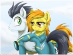 """amber_eyes blush duo equine eyewear female feral friendship_is_magic goggles green_eyes hair inuhoshi-to-darkpen male mammal multicolored_hair my_little_pony outside pegasus skinsuit sky soarin_(mlp) spitfire_(mlp) two_tone_hair wings wonderbolts_(mlp)  Rating: Safe Score: 9 User: 2DUK Date: September 17, 2012"""""""