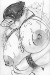 2015 anthro areola bdsm big_breasts breasts canine cocolog cum cum_on_breasts cum_on_face erect_nipples female hair japanese kemono long_hair mammal monochrome navel nipples roko_(cocolog) sketch solo wolf  Rating: Explicit Score: 2 User: GONE_FOREVER Date: August 10, 2015