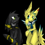 alpha_channel duo duskball(character) eeveelution female feral jolteon nintendo pokesona pokémon thunderback umbreon video_games   Rating: Safe  Score: 4  User: Thunderback  Date: May 13, 2015