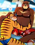 anthro bear bearlovestiger13 brown_fur bulge clothing duo feline fur hi_res juuichi_mikazuki male male/male mammal morenatsu muscular nipples pecs swimsuit tiger torahiko_(morenatsu)  Rating: Questionable Score: 4 User: Vallizo Date: August 26, 2015