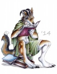 2014 anthro book canine claws clothed clothing distracting_watermark fur horn male mammal palelady reading red_wolf scholar solo turgius watermark were werewolf wolf  Rating: Safe Score: 10 User: *Sellon* Date: November 20, 2014