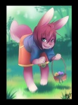 ambiguous_gender basket blue_eyes clothing easter easter_egg forest hair holidays lagomorph mammal outside pink_hair rabbit rudragon shirt shorts solo tree   Rating: Safe  Score: 2  User: slyroon  Date: July 06, 2013