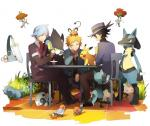 alternate_color anthro aron beldum beverage brick canine chair dedenne espurr feline fletchling floette flower food grass group heiwa hi_res honedge lucario luxray mammal nintendo pancham pikachu plant pokémon riley_(pokémon) riolu rodent semi-anthro shiny_pokémon simple_background sir_aaron steven_stone table tea video_games volkner
