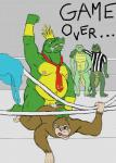 anal anal_penetration ape bracelet chubby clothing crocodile crown donkey_kong_(character) donkey_kong_(series) duo english_text fighting_ring forced game_over jewelry king_k_rool kong kremling kritter male male/male mammal muscles necktie nintendo penetration penis plain_background primate rape referee reptile scalie shirt text video_games zerr  Rating: Explicit Score: 1 User: Zest Date: April 16, 2015""