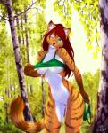 2016 anthro biped bottomless breasts cat clothed clothing clothing_lift countershading day detailed_background digital_media_(artwork) feline female front_view fur genital_piercing green_eyes green_topwear hair hi_res holding_object holding_underwear inner_ear_fluff long_hair looking_at_viewer mammal missy_hammond multicolored_body multicolored_fur navel nipples one_eye_closed orange_body orange_fur outside panties partially_clothed piercing pink_nipples pussy pussy_piercing red_hair seductive shirt shirt_lift signature solo standing tree ts-cat underwear undressing wargas white_body white_fur winkRating: ExplicitScore: 75User: engageforthDate: November 16, 2017