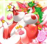 <3 big_breasts blush breasts claws dragon female flora_fauna huge_breasts mammal nipples overweight pawpads paws plant pussy puzzle_&_dragons red_body red_sky_fruit_strawberry_dragon solo toe_claws video_games white_body wings ymbk   Rating: Explicit  Score: 22  User: voldosbt  Date: January 19, 2015