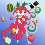 anthro apple blue_background breasts butterfly_wings candy cheek_tuft chocolate cookie cute eating fairy_dragon featureless_breasts female fibs food fruit fur gradient_background low-angle_view melon pizza red_body rhubarb simple_background smile solo tail_tuft tuft vector watermelon white_belly white_fur wings wishdragon young  Rating: Safe Score: 4 User: FibS Date: March 30, 2016