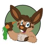 aliasing alternate_version_available anthro arm_support buckteeth bust_portrait carrot circle flat_colors food front_view holding_food holding_object lagomorph leaning_on_elbow looking_at_viewer male mammal mizzyam open_mouth portrait rabbit semi-anthro smile solo spotted_bunny teeth vegetable