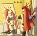 2015 antennae anthro anthrofied bikini bra breasts brown_skin butt clothed clothing female hair latiar lingerie milotic mirror navel nintendo pokémon pokémorph raised_tail red_eyes red_hair reflection skimpy solo swimsuit underwear video_games   Rating: Questionable  Score: 13  User: GameManiac  Date: February 12, 2015