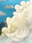 anthro black_nose breasts butt byyako canine cloud facial_markings faint female fingering floating fox fur looking_at_viewer mammal markings masturbation mountain multiple_tails nipples nude on_cloud outside pussy sky solo white_fur  Rating: Explicit Score: 4 User: ClawsOfSteel Date: September 19, 2010
