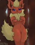 anthro blue_eyes blush breasts dunewulff eeveelution female flareon looking_at_viewer nintendo nipples pokémon pussy pussy_juice slit_pupils solo video_games  Rating: Explicit Score: 21 User: DuneWulff Date: June 25, 2015
