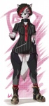 abstract_background blue_eyes boots bottomless breasts canine choker clothed clothing dog female footwear hair hairclip half-dressed husky kiba_(leokingdom) legwear leokingdom looking_at_viewer mammal necktie shirt short_hair simple_background small_breasts socks solo standing striped_legwear striped_socks stripes tattoo thigh_highs  Rating: Safe Score: 6 User: Sharp_Coyote Date: July 17, 2015