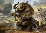 anthro armor bovine gore hooves horn landscape magic_the_gathering male mammal minotaur muscular official_art severed_limb sitting solo svetlin_velinov  Rating: Safe Score: 0 User: Circeus Date: December 16, 2014