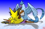 ambiguous_gender articuno avian beak bird blue_feathers cum cum_inside dragon_soul_e drooling duo feathers feral ice legendary_pokémon messy nintendo open_mouth pokémon saliva saliva_string sex simple_background sweat tongue tongue_out video_games zapdos