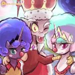 clown crown discord_(mlp) draconequus equine female friendship_is_magic group horn lumineko luna male mammal my_little_pony princess_celestia_(mlp) princess_luna_(mlp) winged_unicorn wings  Rating: Safe Score: 6 User: lumineko Date: November 29, 2015