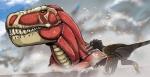 "attack_on_titan black_eyes dinosaur duo eren_yeager feathers parody tyrannosaurus_rex unknown_artist wings  Rating: Safe Score: 9 User: Juni221 Date: June 23, 2015"""