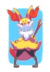 ambiguous_gender anthro braixen canine fox inner_ear_fluff limb_(artist) looking_at_viewer mammal nintendo pokémon red_eyes smile solo standing stick video_games