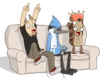 angry anthro avian beak bird black_nose blue_jay bowl caprine cartoon_network cheering clothed clothing controller eclipsewolf food game_controller goat group half-closed_eyes horn male mammal mordecai_(regular_show) open_mouth popcorn raccoon regular_show rigby_(regular_show) shirt simple_background sitting sofa thomas video_games white_background  Rating: Safe Score: 16 User: Hardstyle_Chris Date: November 28, 2012