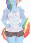 2013 anthro anthrofied blue_feathers blue_fur blush breasts camel_toe clothed clothing cutie_mark equine feathered_wings feathers female friendship_is_magic fur hair hi_res lonelycross mammal multicolored_hair multicolored_tail my_little_pony navel nipples pegasus rainbow_dash_(mlp) rainbow_hair rainbow_tail shirt shorts simple_background small_breasts solo torso_shot translucent transparent_clothing wet wings
