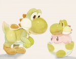 ambiguous_gender b_spa_gyoreva_(artist) cute dinosaur duo egg hay kirby kirby_(series) mario_bros nintendo open_mouth plain_background video_games yoshi   Rating: Safe  Score: 4  User: DeltaFlame  Date: February 08, 2015